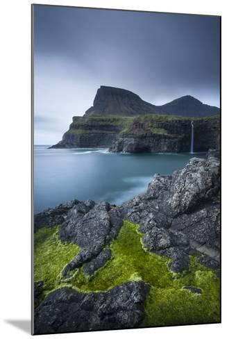 Dramatic Coastline and Waterfall at Gasadalur on the Island of Vagar, Faroe Islands. Spring-Adam Burton-Mounted Photographic Print
