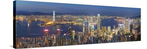 View of Kowloon and Hong Kong Island from Victoria Peak at Dusk, Hong Kong-Ian Trower-Stretched Canvas Print