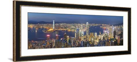 View of Kowloon and Hong Kong Island from Victoria Peak at Dusk, Hong Kong-Ian Trower-Framed Art Print