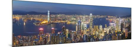 View of Kowloon and Hong Kong Island from Victoria Peak at Dusk, Hong Kong-Ian Trower-Mounted Photographic Print