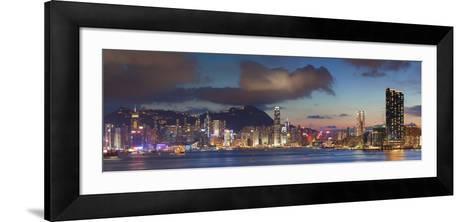 View of Hong Kong Island and Tsim Sha Tsui Skylines at Sunset, Hong Kong-Ian Trower-Framed Art Print