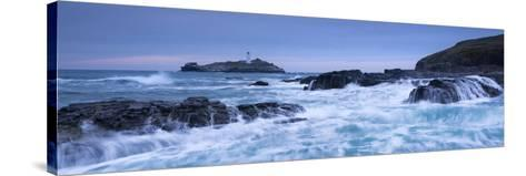 Waves Crash around the Rocks Near Godrevy Lighthouse, Cornwall, England. Winter (February)-Adam Burton-Stretched Canvas Print