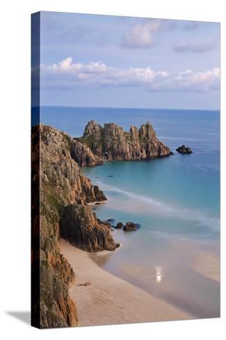 Pednvounder Beach and Logan Rock from the Clifftops Near Treen, Porthcurno, Cornwall-Adam Burton-Stretched Canvas Print