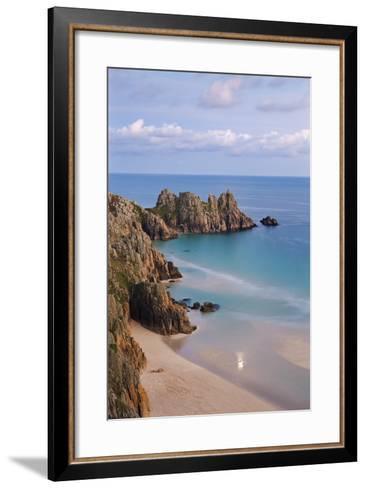 Pednvounder Beach and Logan Rock from the Clifftops Near Treen, Porthcurno, Cornwall-Adam Burton-Framed Art Print