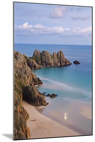 Pednvounder Beach and Logan Rock from the Clifftops Near Treen, Porthcurno, Cornwall-Adam Burton-Mounted Photographic Print