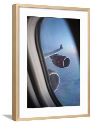 Airbus A340 Aircraft, View Out of the Window with Engine and Wing-Jon Arnold-Framed Art Print