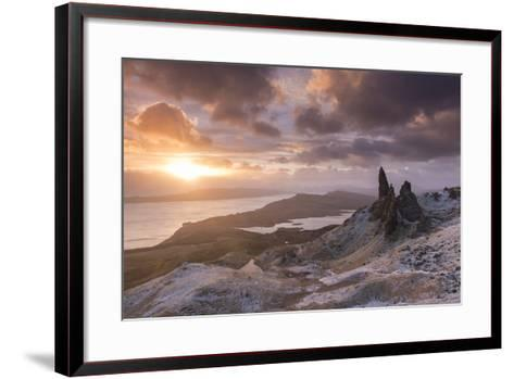 Spectacular Sunrise over the Old Man of Storr, Isle of Skye, Scotland. Winter (December)-Adam Burton-Framed Art Print