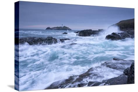 Crashing Atlantic Waves Near Godrevy Lighthouse, Cornwall, England. Winter (February)-Adam Burton-Stretched Canvas Print