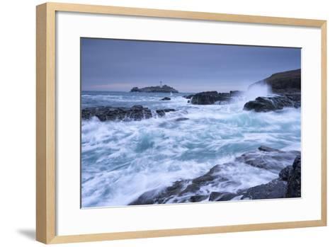 Crashing Atlantic Waves Near Godrevy Lighthouse, Cornwall, England. Winter (February)-Adam Burton-Framed Art Print