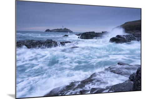 Crashing Atlantic Waves Near Godrevy Lighthouse, Cornwall, England. Winter (February)-Adam Burton-Mounted Photographic Print