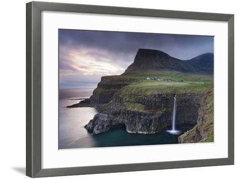 Dramatic Coastal Scenery at Gasadalur on the Island of Vagar, Faroe Islands. Spring-Adam Burton-Framed Art Print