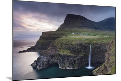 Dramatic Coastal Scenery at Gasadalur on the Island of Vagar, Faroe Islands. Spring-Adam Burton-Mounted Photographic Print