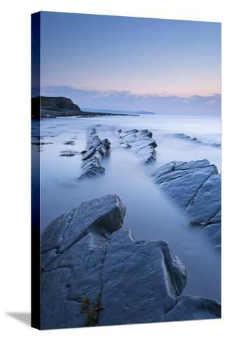 Twilight Skies Above Rocky Kilve Beach on the Somerset Coast, England. Summer (July)-Adam Burton-Stretched Canvas Print