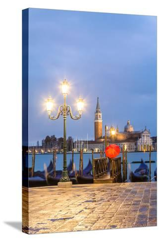 Italy, Veneto, Venice. Woman with Red Umbrella on Riva Degli Schiavoni at Dawn (Mr)-Matteo Colombo-Stretched Canvas Print