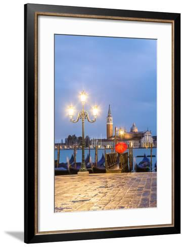 Italy, Veneto, Venice. Woman with Red Umbrella on Riva Degli Schiavoni at Dawn (Mr)-Matteo Colombo-Framed Art Print