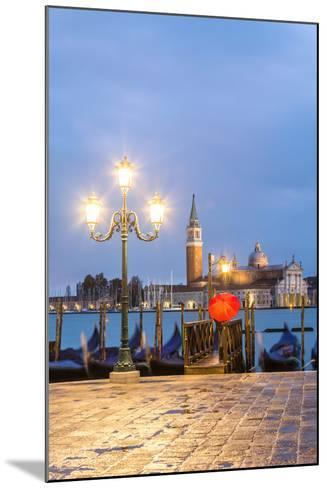 Italy, Veneto, Venice. Woman with Red Umbrella on Riva Degli Schiavoni at Dawn (Mr)-Matteo Colombo-Mounted Photographic Print