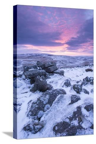 Beautiful Sunrise over a Frozen Snow Covered Moorland-Adam Burton-Stretched Canvas Print