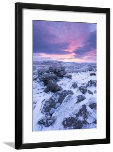 Beautiful Sunrise over a Frozen Snow Covered Moorland-Adam Burton-Framed Art Print
