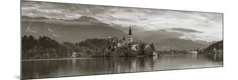Bled Island with the Church of the Assumption and Bled Castle Illuminated at Dusk, Lake Bled-Doug Pearson-Mounted Photographic Print