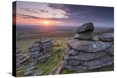 Beautiful Sunset over Arms Tor, Dartmoor, Devon, England. Summer (August)-Adam Burton-Stretched Canvas Print