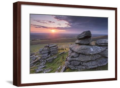 Beautiful Sunset over Arms Tor, Dartmoor, Devon, England. Summer (August)-Adam Burton-Framed Art Print