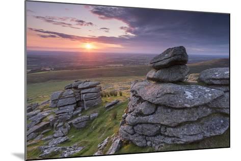 Beautiful Sunset over Arms Tor, Dartmoor, Devon, England. Summer (August)-Adam Burton-Mounted Photographic Print
