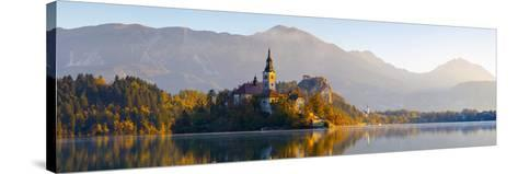 Bled Island with the Church of the Assumption and Bled Castle Illuminated at Dusk, Lake Bled-Doug Pearson-Stretched Canvas Print