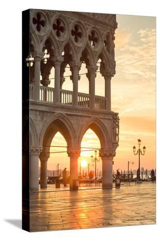Italy, Veneto, Venice. Sunrise over Piazzetta San Marco and Doges Palace-Matteo Colombo-Stretched Canvas Print