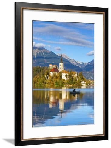Bled Island with the Church of the Assumption and Bled Castle Illuminated at Dusk, Lake Bled-Doug Pearson-Framed Art Print
