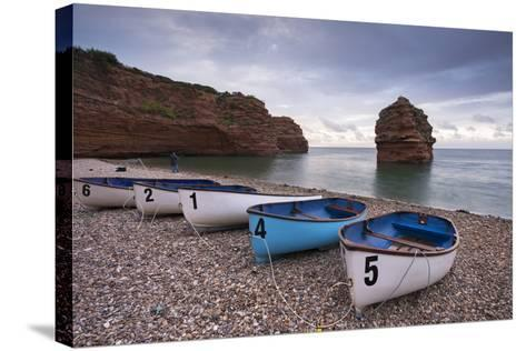Boats Pulled Up on the Shingle at Ladram Bay on the Jurassic Coast, Devon, England-Adam Burton-Stretched Canvas Print