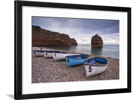 Boats Pulled Up on the Shingle at Ladram Bay on the Jurassic Coast, Devon, England-Adam Burton-Framed Art Print