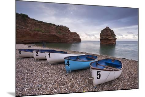 Boats Pulled Up on the Shingle at Ladram Bay on the Jurassic Coast, Devon, England-Adam Burton-Mounted Photographic Print