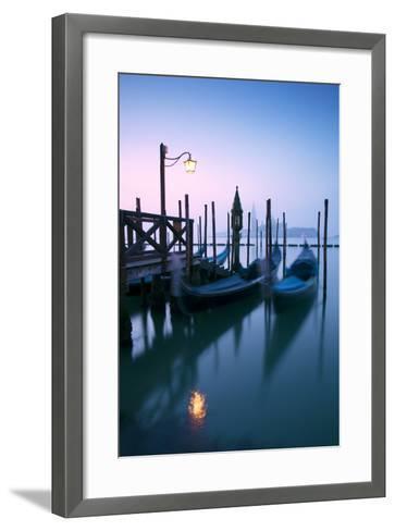 Italy, Venice. Gondolas Moored on Riva Degli Schiavoni at Sunrise-Matteo Colombo-Framed Art Print