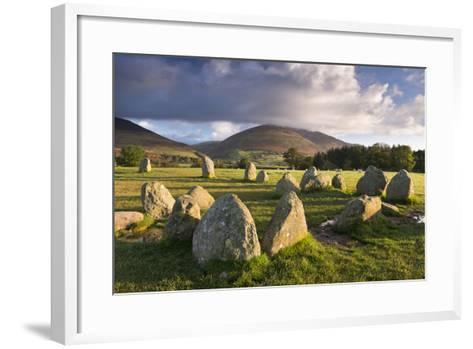 Castlerigg Stone Circle with Blencathra Mountain Behind, Lake District, Cumbria-Adam Burton-Framed Art Print