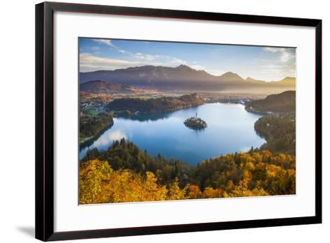 Lake Bled and the Julian Alps Illuminated at Sunrise, Lake Bled, Bled, Upper Carniola, Slovenia-Doug Pearson-Framed Art Print