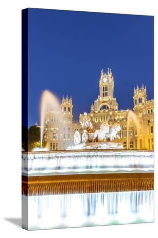 Spain, Madrid. Plaza De Cibeles with Famous Fountain and Town Hall Building Behind-Matteo Colombo-Stretched Canvas Print