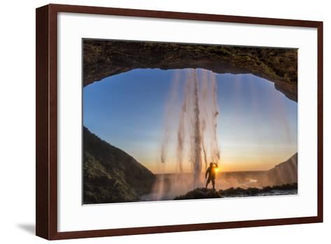 Man Behind Seljalandsfoss Waterfall, Suourland (South Iceland), Iceland-Peter Adams-Framed Art Print