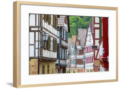 Traditional Half Timbered Buildings in Schiltach's Picturesque Medieval Altstad, Baden-Wurttemberg-Doug Pearson-Framed Art Print