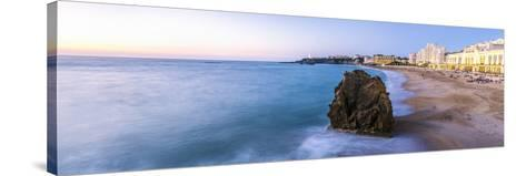 France, Aquitaine, Pyrenees Atlantiques, Biarritz. La Grande Plage at Sunset-Matteo Colombo-Stretched Canvas Print