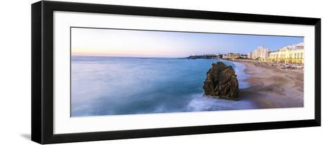 France, Aquitaine, Pyrenees Atlantiques, Biarritz. La Grande Plage at Sunset-Matteo Colombo-Framed Art Print