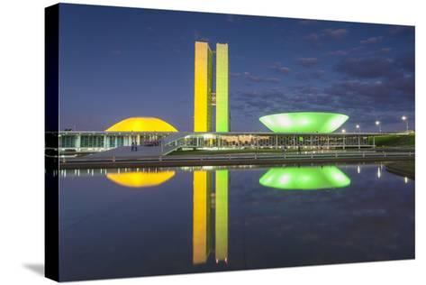 National Congress at Dusk, Brasilia, Federal District, Brazil-Ian Trower-Stretched Canvas Print