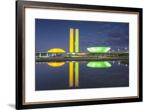 National Congress at Dusk, Brasilia, Federal District, Brazil-Ian Trower-Framed Art Print