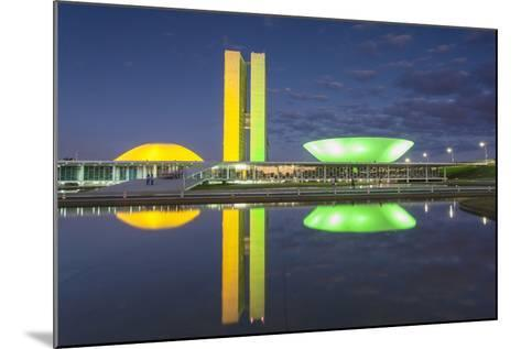National Congress at Dusk, Brasilia, Federal District, Brazil-Ian Trower-Mounted Photographic Print