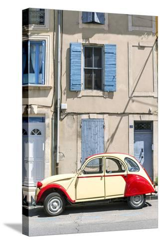 France, Provence Alps Cote D'Azur, Saint Remy De Provence. Street View with Old Fashioned 2Cv Car-Matteo Colombo-Stretched Canvas Print