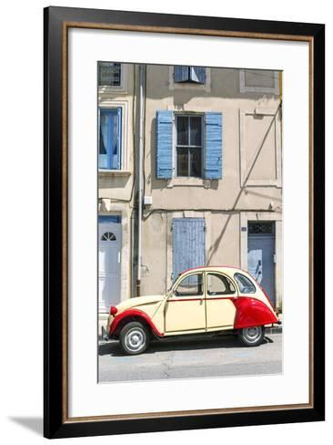 France, Provence Alps Cote D'Azur, Saint Remy De Provence. Street View with Old Fashioned 2Cv Car-Matteo Colombo-Framed Art Print