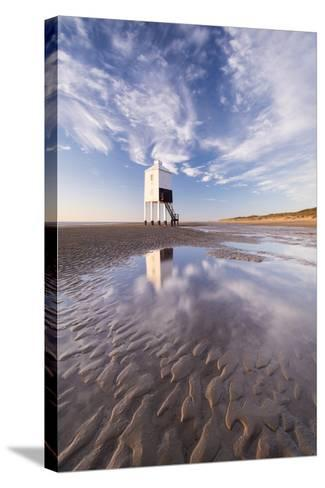 Wooden Lighthouse on Burnham Beach at Low Tide, Burnham-On-Sea, Somerset, England. Winter-Adam Burton-Stretched Canvas Print