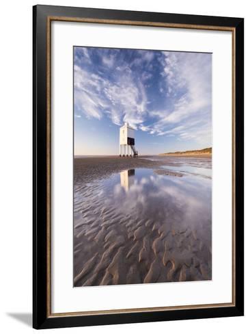 Wooden Lighthouse on Burnham Beach at Low Tide, Burnham-On-Sea, Somerset, England. Winter-Adam Burton-Framed Art Print