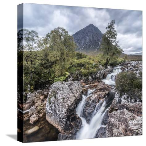 UK, Scotland, Highland, Glen Coe, River Coupall, Coupall Falls and Buachaille Etive Mor-Alan Copson-Stretched Canvas Print
