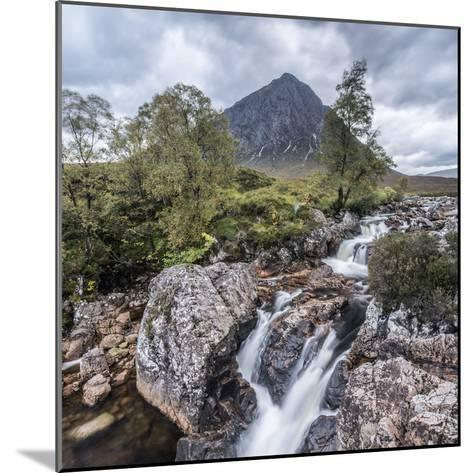 UK, Scotland, Highland, Glen Coe, River Coupall, Coupall Falls and Buachaille Etive Mor-Alan Copson-Mounted Photographic Print