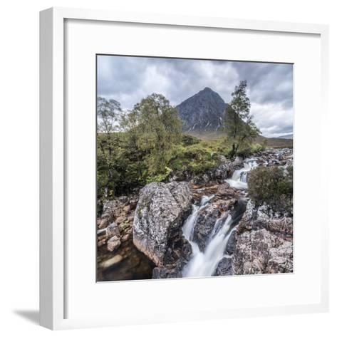 UK, Scotland, Highland, Glen Coe, River Coupall, Coupall Falls and Buachaille Etive Mor-Alan Copson-Framed Art Print